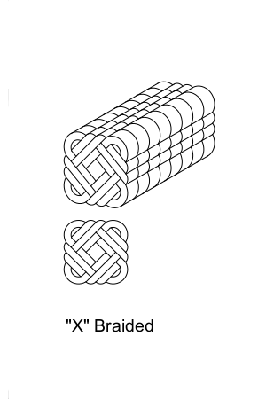 X Braided or Inter-Braid, Cross Plait or Diagonal Braid
